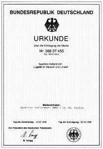 Urkunde Markeneintragung